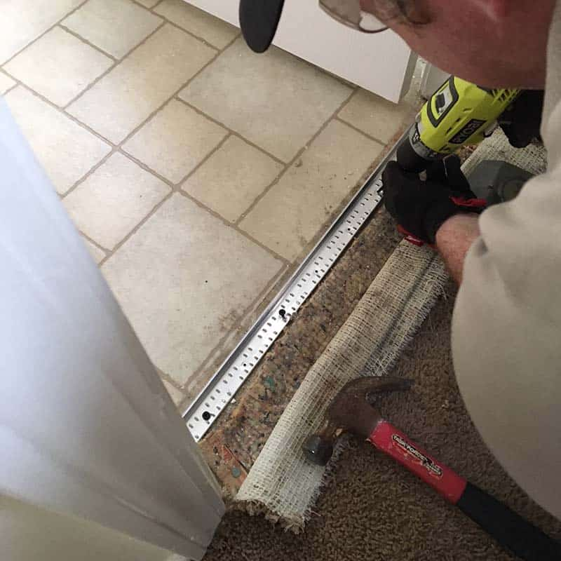 Repairing a threshold on old carpet, save old carpet Greenville, SC